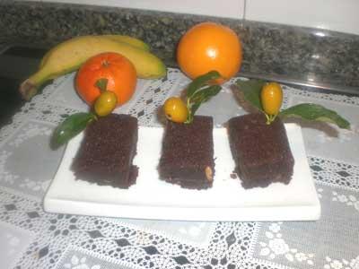 PUDIN NEGRO DE GARBANZOS, NARANJA y CHOCOLATE
